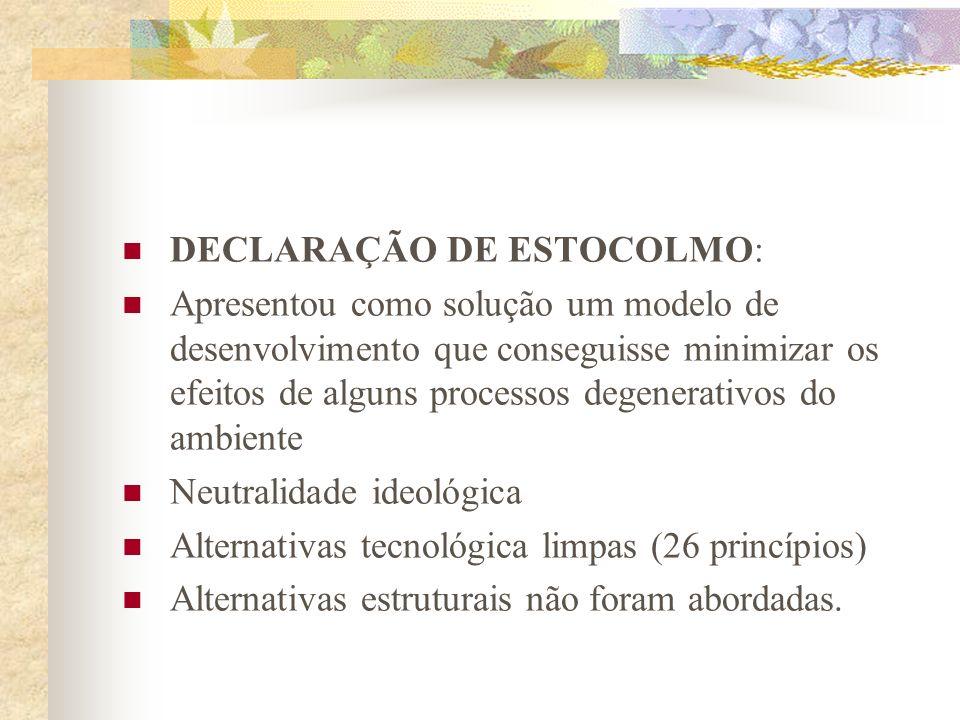 Década de 70: Os primeiros documentos ambientalismo político-profissional e governamental 1972 – 1 a. Conferência Mundial das Nações Unidas sobre Meio