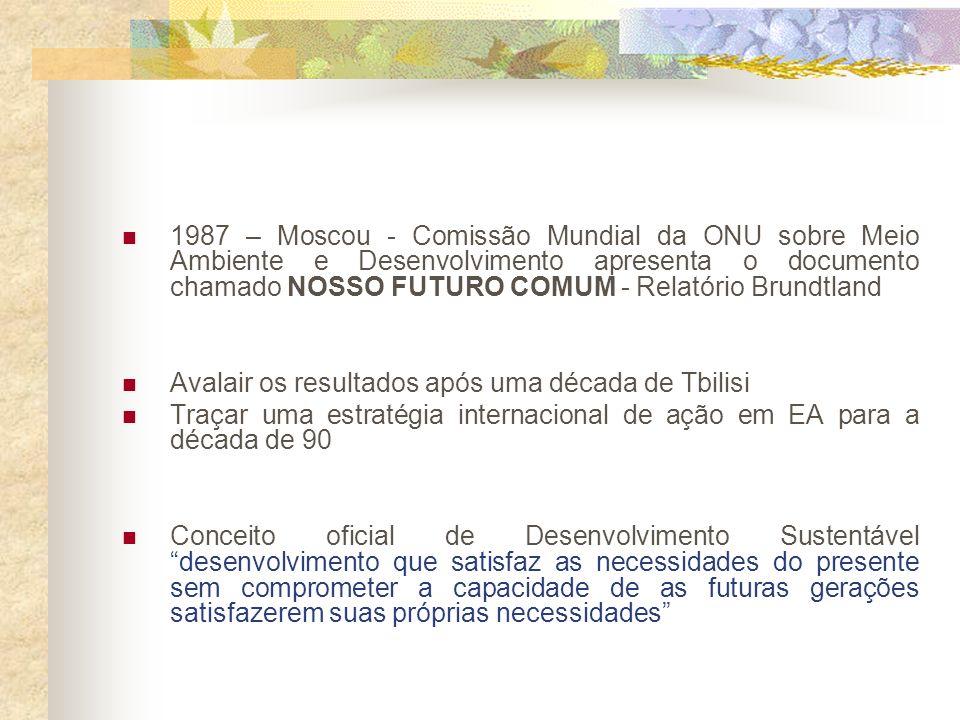 1977 – Tbilisi – Georgia 1 o Congresso Mundial de Educação Ambiental Tentativa de organização das diversas idéias sobre Educação e Meio Ambiente.
