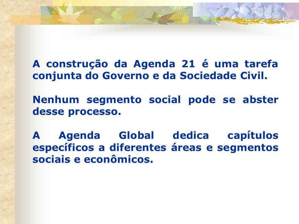 Agenda 21 É um documento coletivo, um pacto social, que propõe atitudes e ações transformadoras para estabelecer um padrão de desenvolvimento sustentá