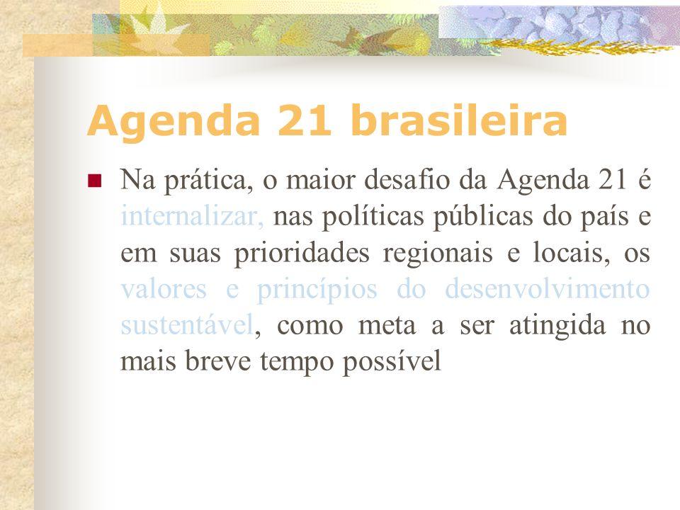 Agenda 21 brasileira objetivo comum a ser atingido não está restrito à preservação do meio ambiente, mas ao desenvolvimento sustentável ampliado e pro
