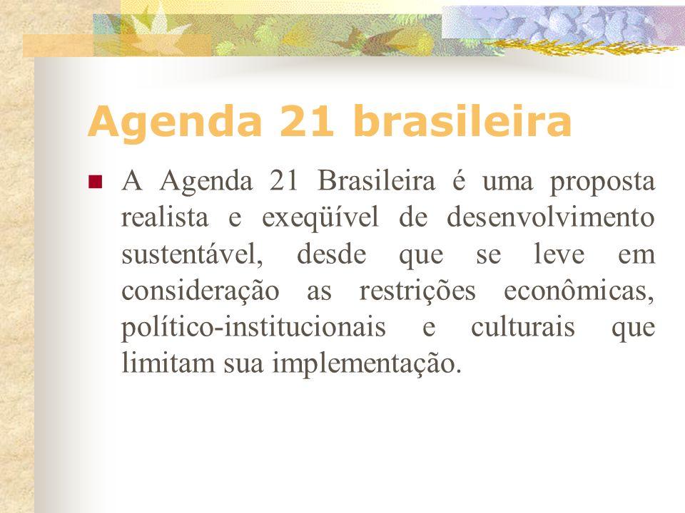 Agenda 21 brasileira Na prática, o maior desafio da Agenda 21 é internalizar, nas políticas públicas do país e em suas prioridades regionais e locais,