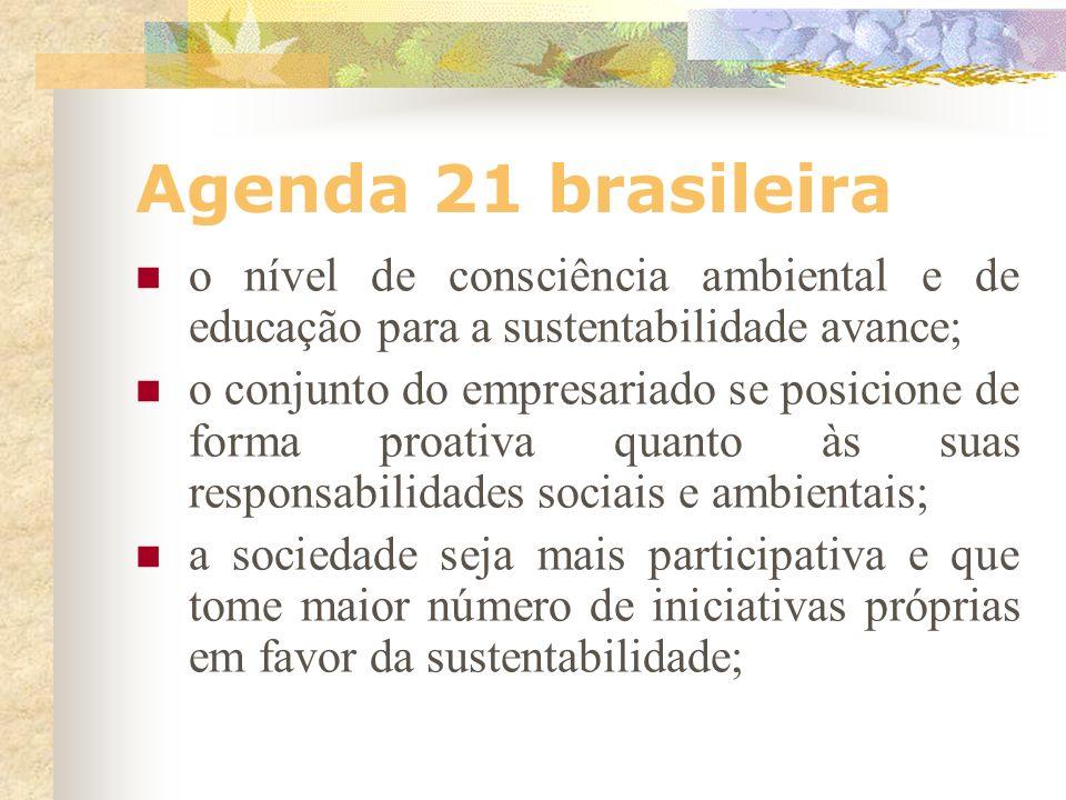 Agenda 21 brasileira A Agenda 21 Brasileira é uma proposta realista e exeqüível de desenvolvimento sustentável, desde que se leve em consideração as r