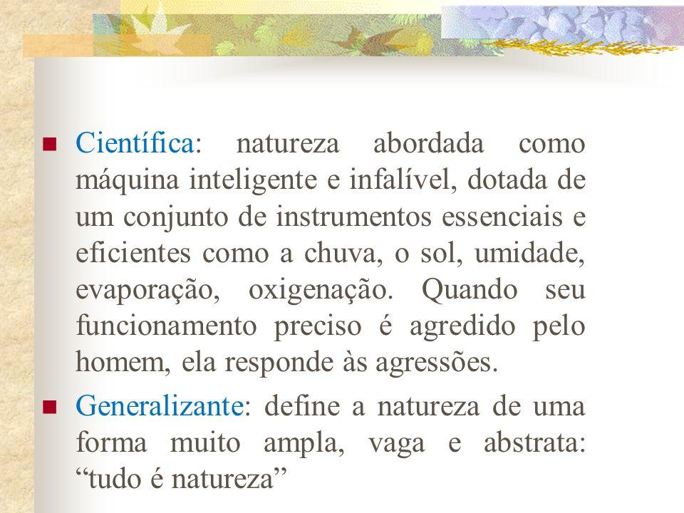 Categorias das concepções de natureza Romântica: elabora uma visão de supernatureza, mãe-natureza. Aponta a grandiosidade da natureza, sempre harmônic
