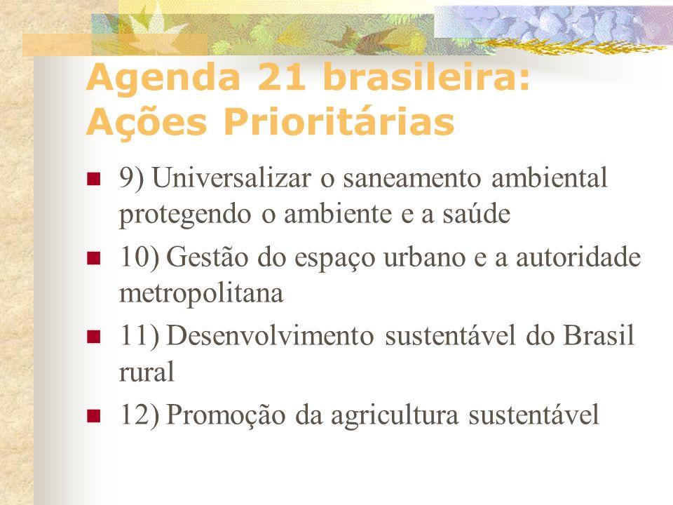 Agenda 21 brasileira: Ações Prioritárias 5) Informação e conhecimento para o desenvolvimento sustentável 6) Educação permanente para o trabalho e a vi