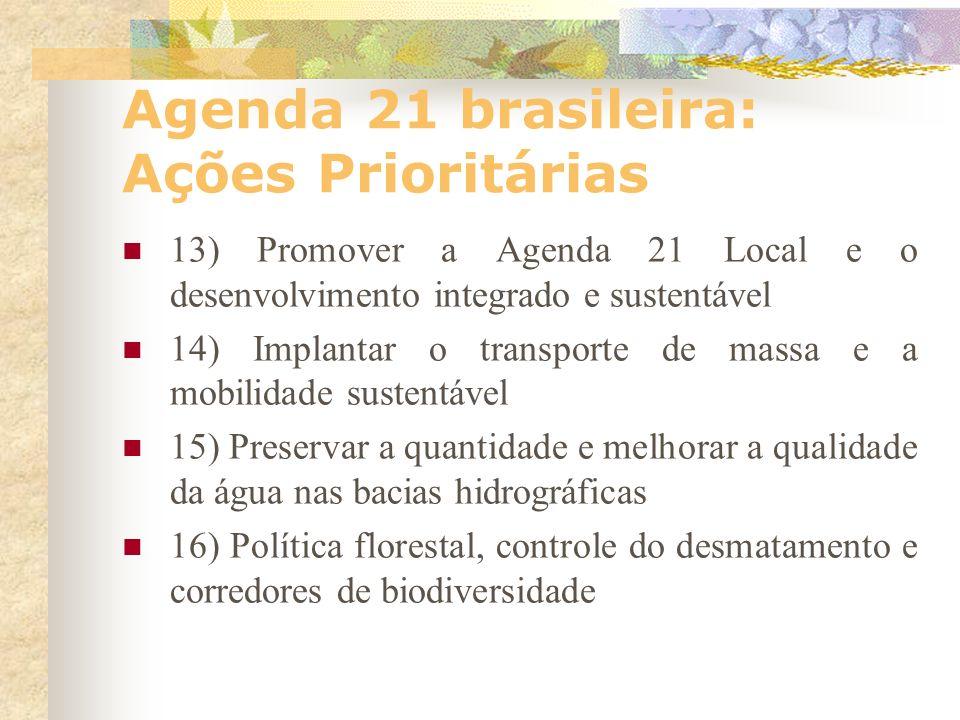 Agenda 21 brasileira: Ações Prioritárias 9) Universalizar o saneamento ambiental protegendo o ambiente e a saúde 10) Gestão do espaço urbano e a autor