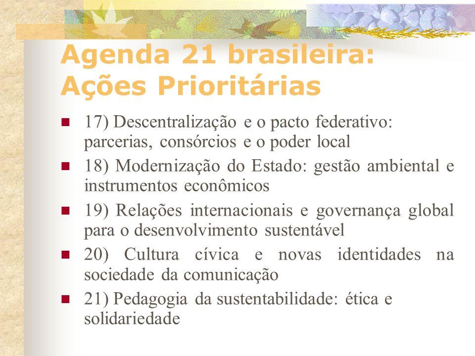 Agenda 21 brasileira: Ações Prioritárias 13) Promover a Agenda 21 Local e o desenvolvimento integrado e sustentável 14) Implantar o transporte de mass