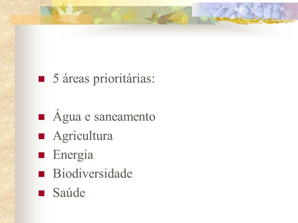 2002 – Rio+10 – Joanesburgo – Conferência Mundial sobre Desenvolvimento Sustentável Metas do Milênio: Garantir a sustentabilidade ambiental Erradicar