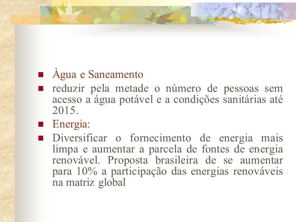 5 áreas prioritárias: Água e saneamento Agricultura Energia Biodiversidade Saúde