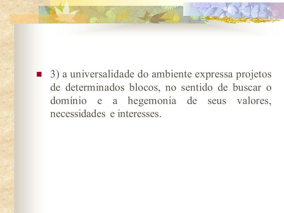 Aspectos importantes na discussão ambiental 1) o sentido oficial que é dado à problemática ambiental se caracteriza como algo irrelevante para a maior