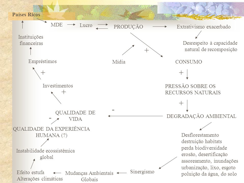 MODELO DE DESENVOLVIMENTO CONSUMISMO EXCLUSÃO SOCIAL Produz Opulência e Desperdício DEGRADAÇÃO AMBIENTAL Miséria e Fome Perda da qualidade de vida Per