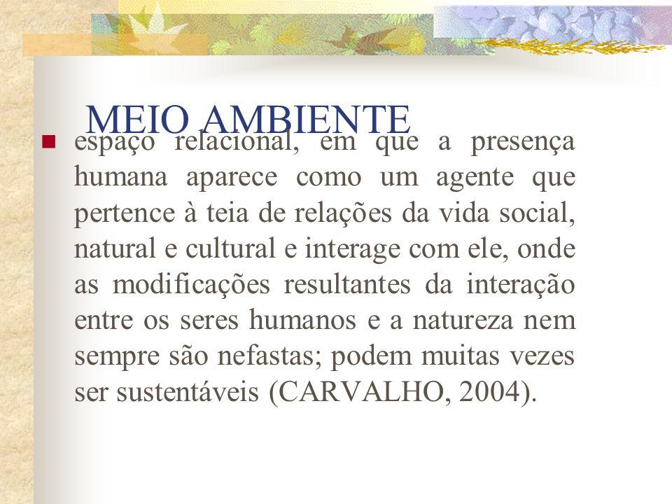 MEIO AMBIENTE Conjunto de componentes naturais e sociais e suas interações em um espaço e em um determinado tempo determinados, associado à dinâmica d