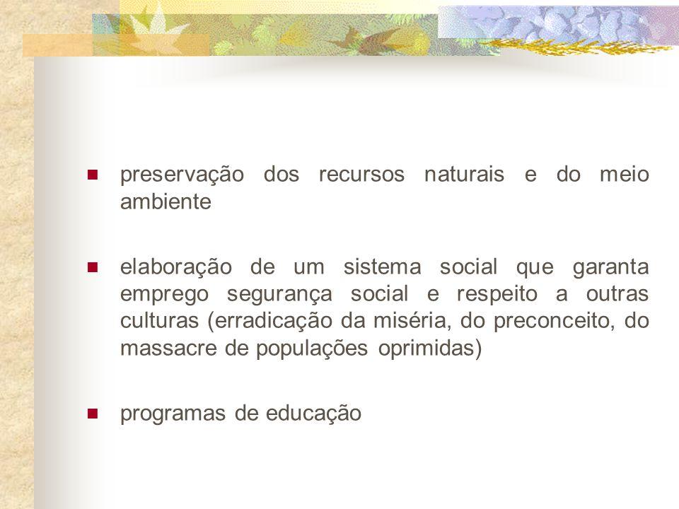 Breve Histórico 1973 - conceito de ecodesenvolvimento satisfação das necessidades básicas (educação, alimentação, saúde, lazer,etc) solidariedade com