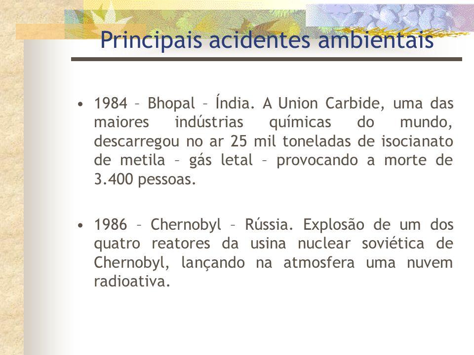 Principais acidentes ambientais 1976 - Seveso – Itália. Nuvem de dioxina escapou de uma indústria química, a Icmesa. 1979 - Three Mile Island – Pensil