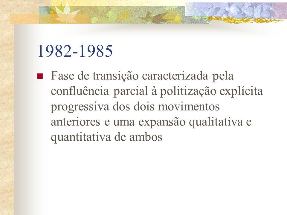 1974 a 1981 Caracteriza-se pela existência de dois movimentos paralelos e auto-identificados como apolitícos: movimentos de denuncia da degradação amb