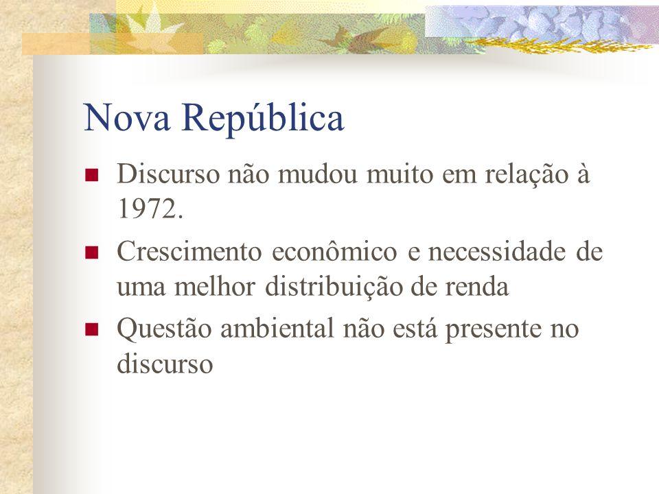 Durante o regime militar (1964- 1984) Necessidade de crescimento econômico acelerado Debates sobre o modelo econômico brasileiro pautavam- se em: Defe