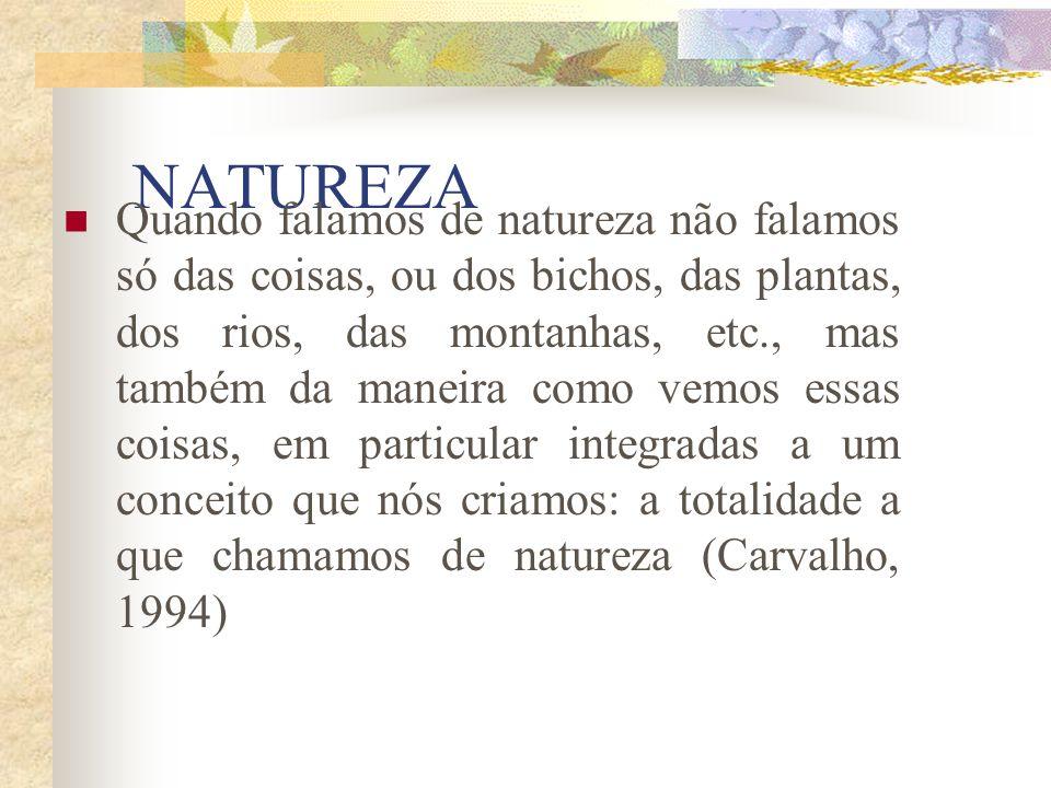 NATUREZA Quando falamos de natureza não falamos só das coisas, ou dos bichos, das plantas, dos rios, das montanhas, etc., mas também da maneira como vemos essas coisas, em particular integradas a um conceito que nós criamos: a totalidade a que chamamos de natureza (Carvalho, 1994)