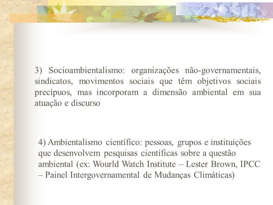 Classificação Viola e Leis (1990, 1992, 1995) – ambientalismo multisetorial 8 eixos de fundamentação teórica: 1) Ambientalismo strito senso: organizaç