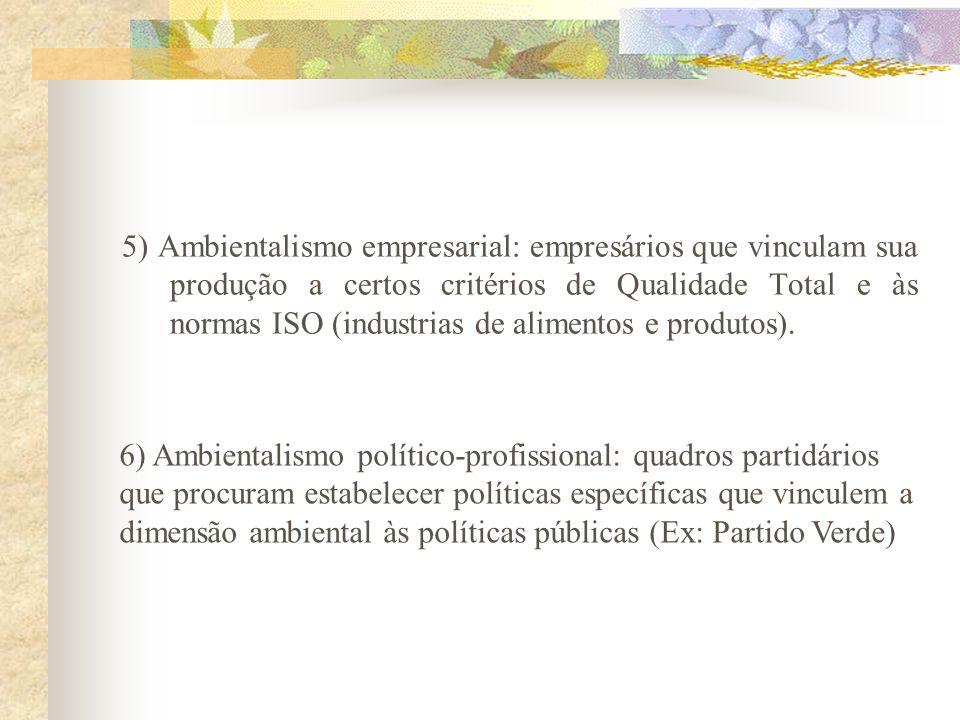 3) Socioambientalismo: organizações não-governamentais, sindicatos, movimentos sociais que têm objetivos sociais precípuos, mas incorporam a dimensão