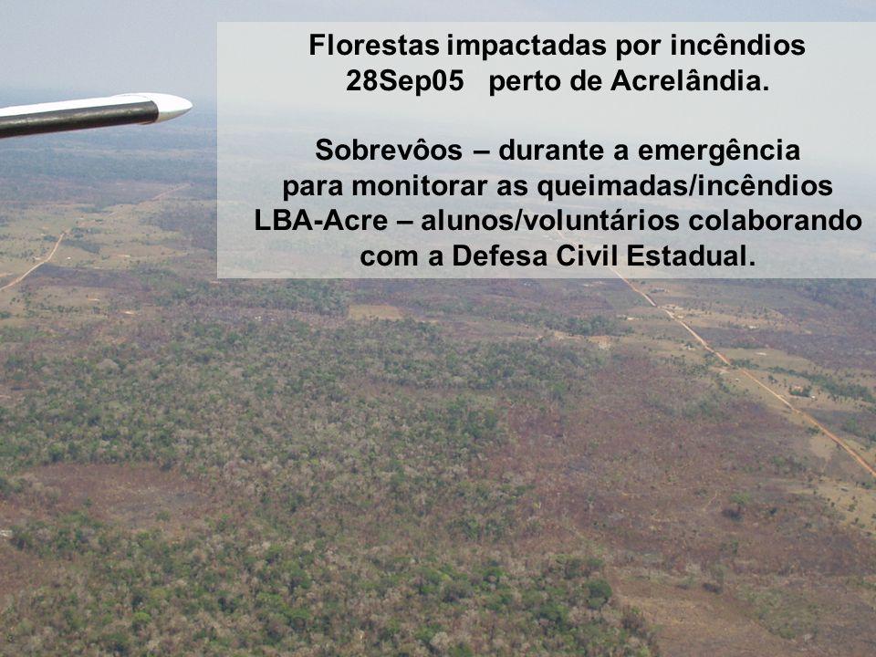 Florestas impactadas por incêndios 28Sep05 perto de Acrelândia. Sobrevôos – durante a emergência para monitorar as queimadas/incêndios LBA-Acre – alun