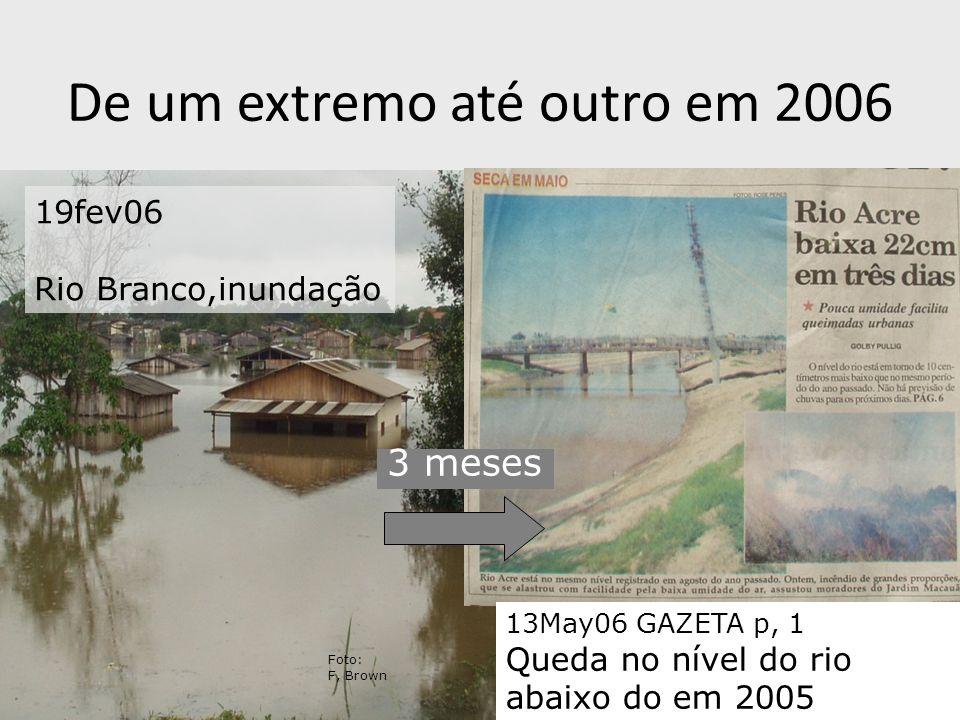 De um extremo até outro em 2006 13May06 GAZETA p, 1 Queda no nível do rio abaixo do em 2005 19fev06 Rio Branco,inundação 3 meses Foto: F, Brown