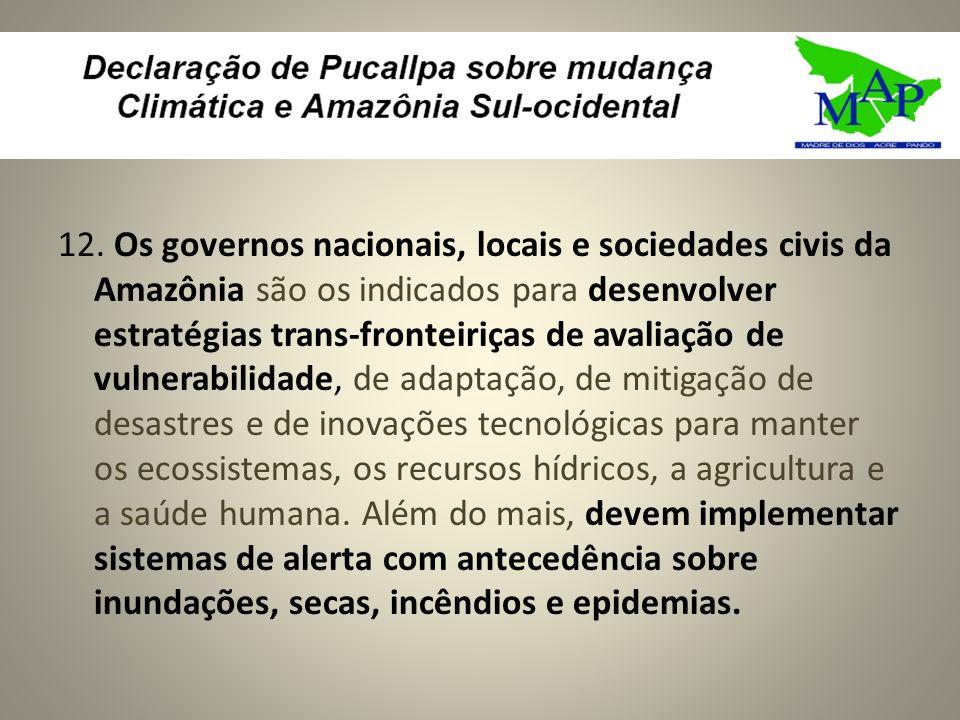 12. Os governos nacionais, locais e sociedades civis da Amazônia são os indicados para desenvolver estratégias trans-fronteiriças de avaliação de vuln