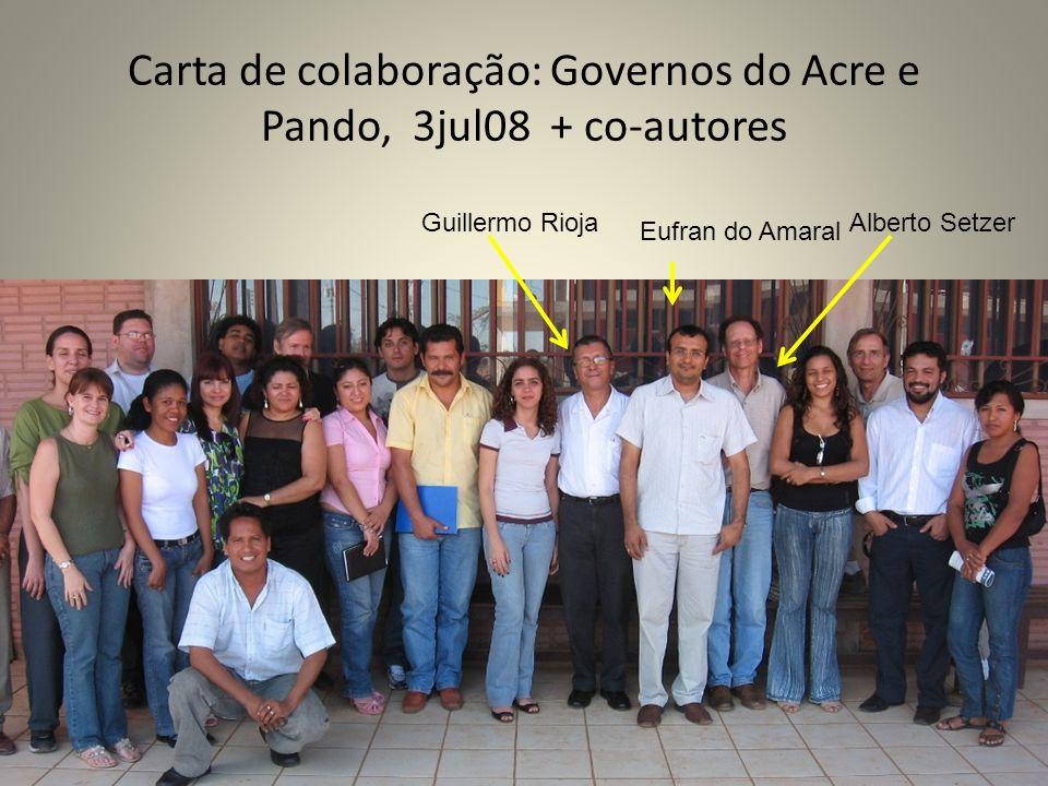 Carta de colaboração: Governos do Acre e Pando, 3jul08 + co-autores Guillermo RiojaAlberto Setzer Eufran do Amaral