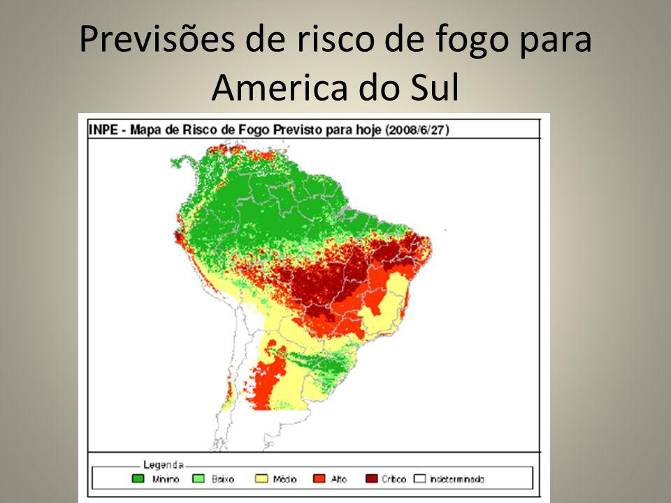 Previsões de risco de fogo para America do Sul