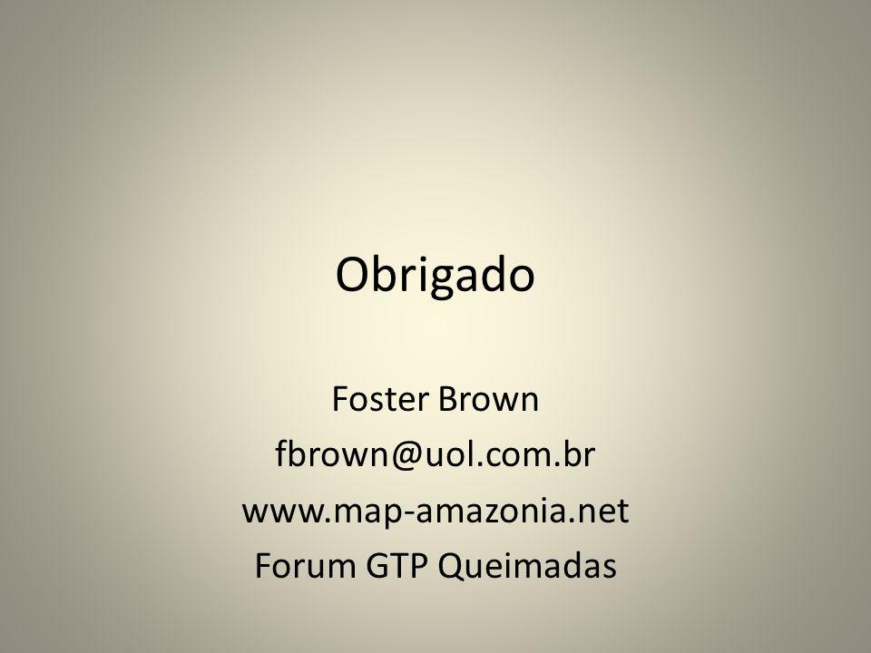 Obrigado Foster Brown fbrown@uol.com.br www.map-amazonia.net Forum GTP Queimadas