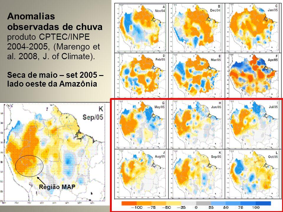 Anomalias observadas de chuva produto CPTEC/INPE 2004-2005, (Marengo et al. 2008, J. of Climate). Seca de maio – set 2005 – lado oeste da Amazônia Reg