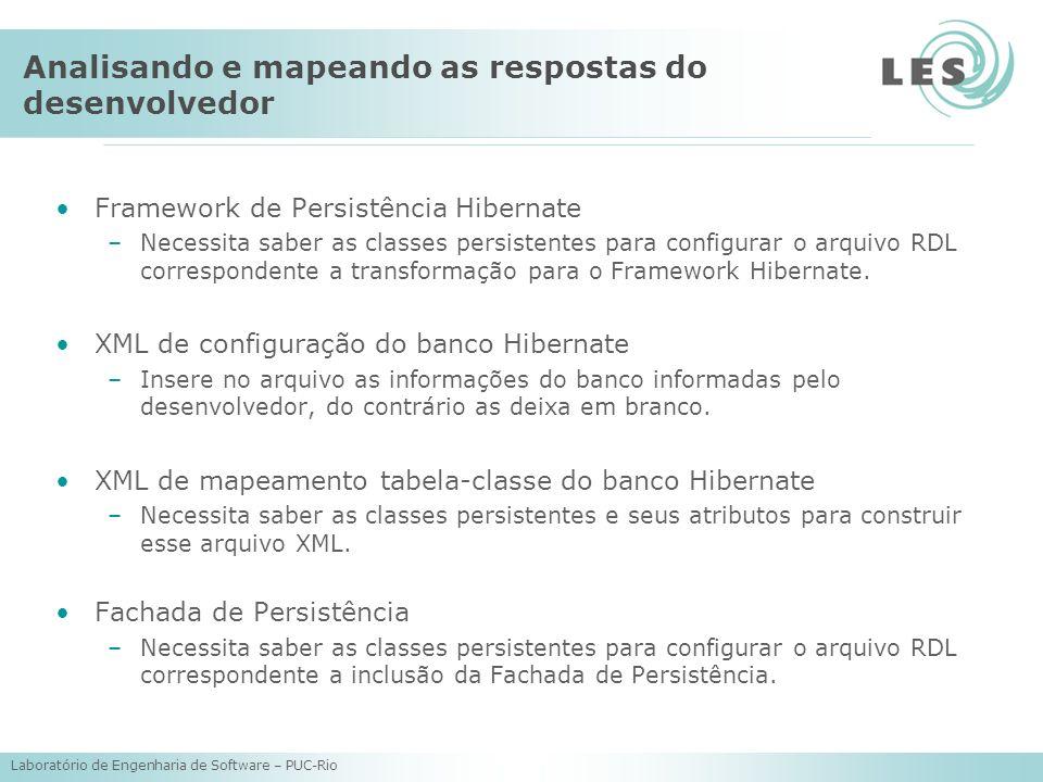Laboratório de Engenharia de Software – PUC-Rio Analisando e mapeando as respostas do desenvolvedor Framework de Persistência Hibernate –Necessita sab