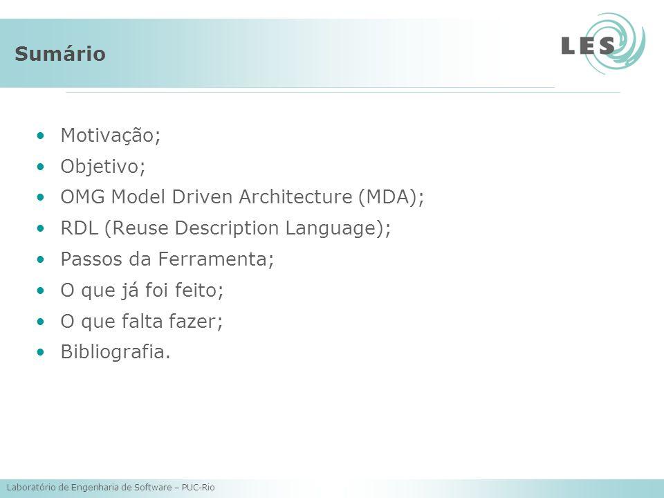 Laboratório de Engenharia de Software – PUC-Rio Sumário Motivação; Objetivo; OMG Model Driven Architecture (MDA); RDL (Reuse Description Language); Pa