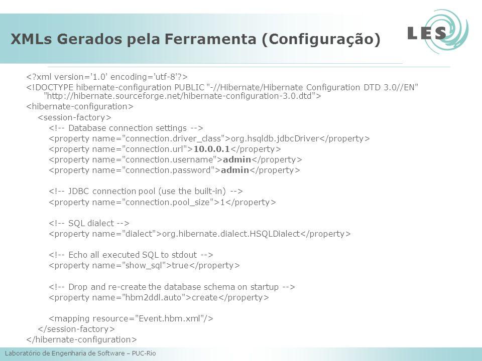 Laboratório de Engenharia de Software – PUC-Rio XMLs Gerados pela Ferramenta (Configuração) org.hsqldb.jdbcDriver 10.0.0.1 admin 1 org.hibernate.diale