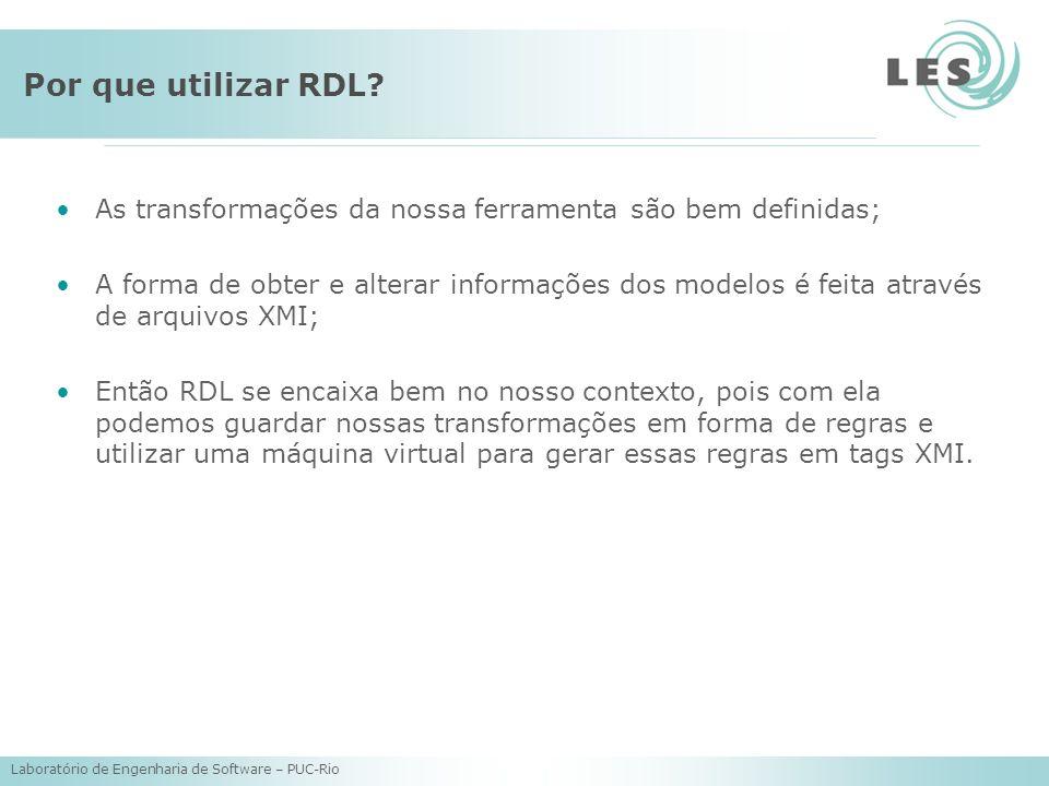 Laboratório de Engenharia de Software – PUC-Rio Por que utilizar RDL? As transformações da nossa ferramenta são bem definidas; A forma de obter e alte