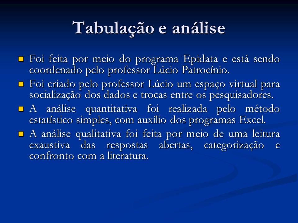 Tabulação e análise Foi feita por meio do programa Epidata e está sendo coordenado pelo professor Lúcio Patrocínio. Foi feita por meio do programa Epi