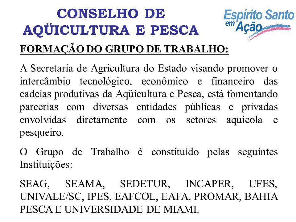 FORMAÇÃO DO GRUPO DE TRABALHO: A Secretaria de Agricultura do Estado visando promover o intercâmbio tecnológico, econômico e financeiro das cadeias pr