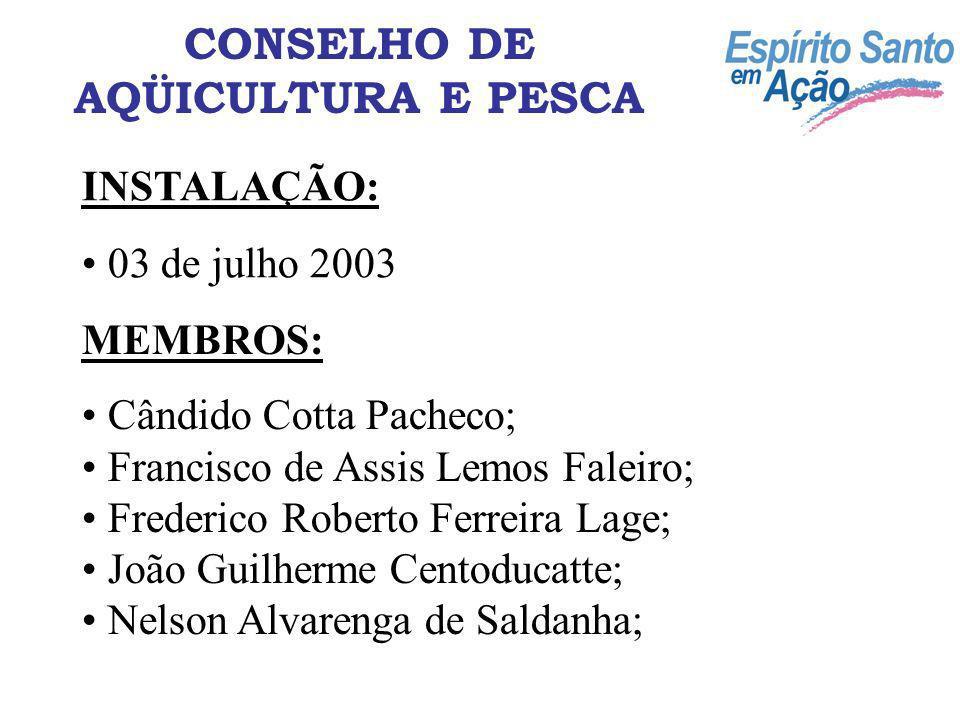 INSTALAÇÃO: 03 de julho 2003 MEMBROS: Cândido Cotta Pacheco; Francisco de Assis Lemos Faleiro; Frederico Roberto Ferreira Lage; João Guilherme Centodu