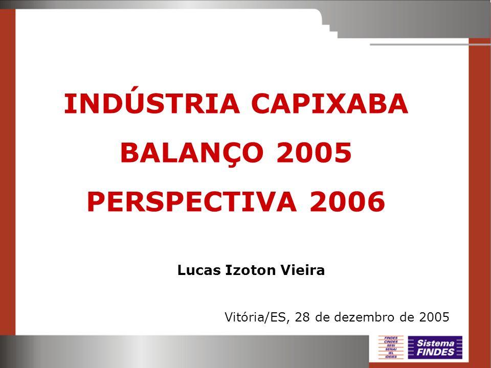 Vitória/ES, 28 de dezembro de 2005 Lucas Izoton Vieira INDÚSTRIA CAPIXABA BALANÇO 2005 PERSPECTIVA 2006