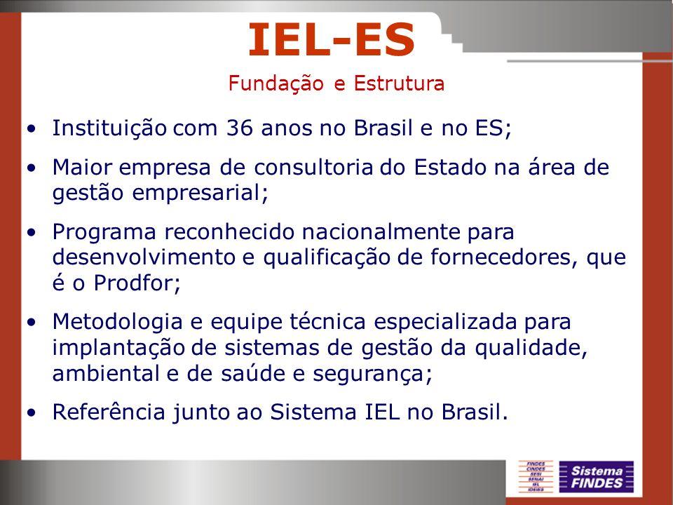 IEL-ES Instituição com 36 anos no Brasil e no ES; Maior empresa de consultoria do Estado na área de gestão empresarial; Programa reconhecido nacionalm