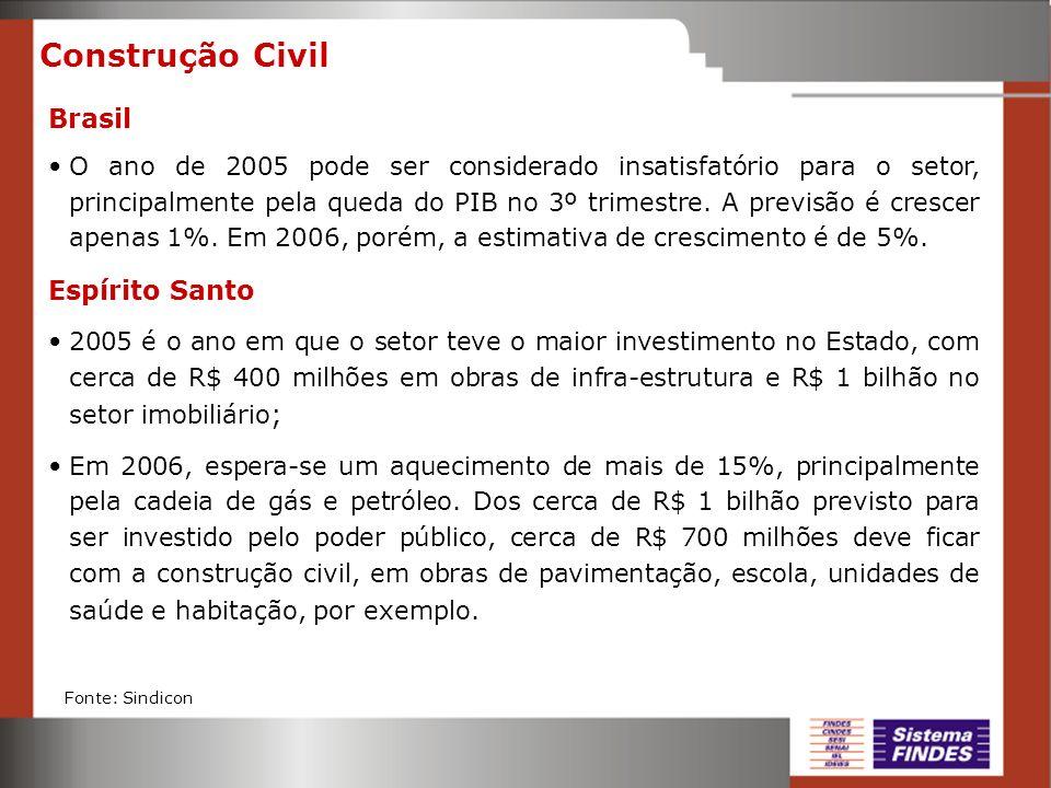 Construção Civil Brasil O ano de 2005 pode ser considerado insatisfatório para o setor, principalmente pela queda do PIB no 3º trimestre. A previsão é