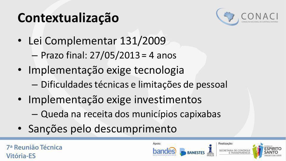 Contextualização Lei Complementar 131/2009 – Prazo final: 27/05/2013 = 4 anos Implementação exige tecnologia – Dificuldades técnicas e limitações de p