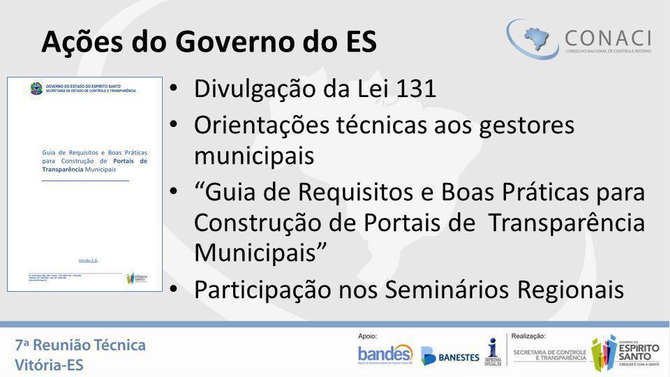 Ações do Governo do ES Divulgação da Lei 131 Orientações técnicas aos gestores municipais Guia de Requisitos e Boas Práticas para Construção de Portai
