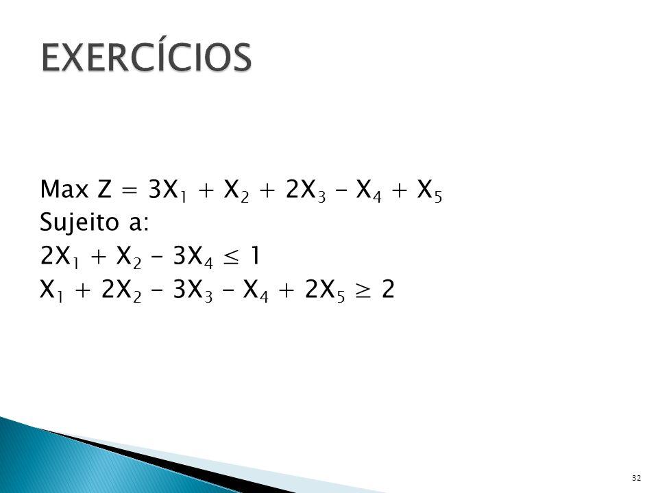 Max Z = 3X 1 + X 2 + 2X 3 - X 4 + X 5 Sujeito a: 2X 1 + X 2 - 3X 4 1 X 1 + 2X 2 - 3X 3 - X 4 + 2X 5 2 32