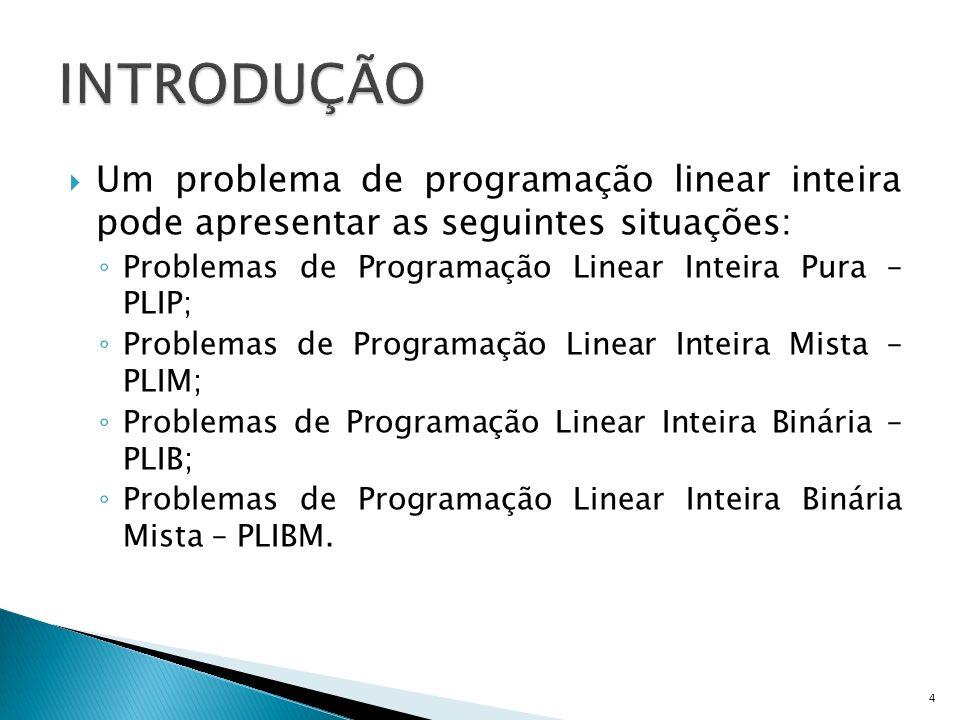 Um problema de programação linear inteira pode apresentar as seguintes situações: Problemas de Programação Linear Inteira Pura – PLIP; Problemas de Pr