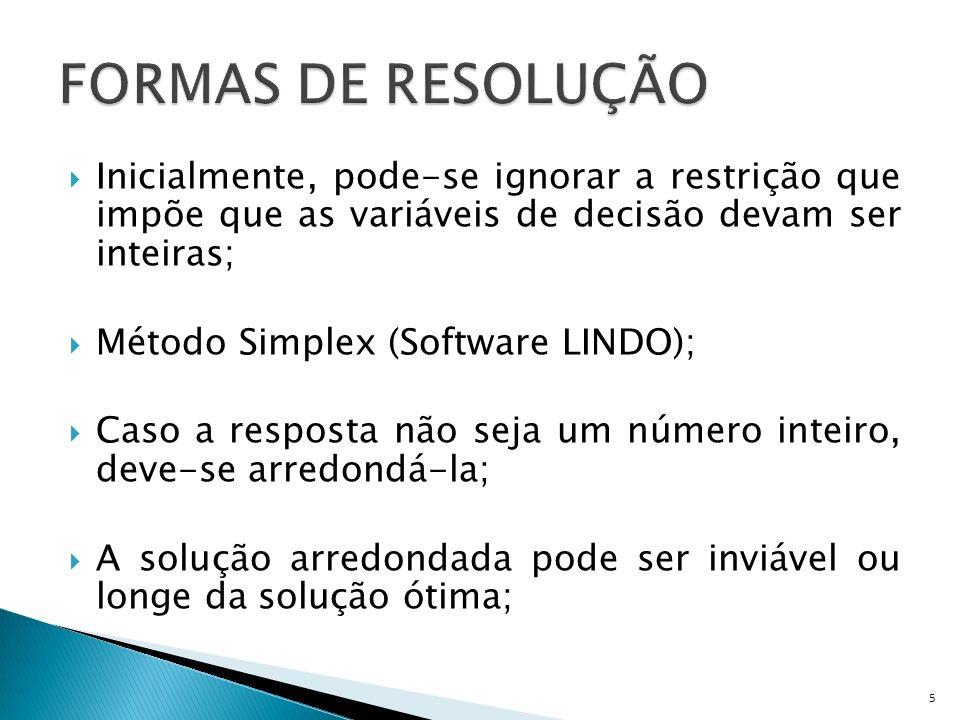 Inicialmente, pode-se ignorar a restrição que impõe que as variáveis de decisão devam ser inteiras; Método Simplex (Software LINDO); Caso a resposta n