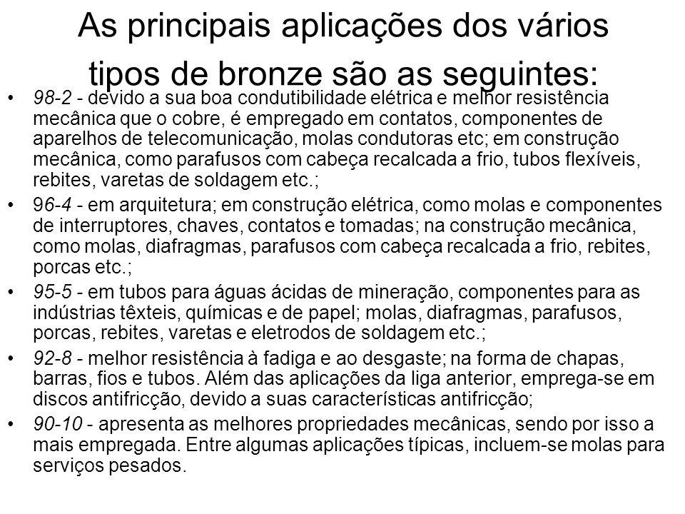 As principais aplicações dos vários tipos de bronze são as seguintes: 98-2 - devido a sua boa condutibilidade elétrica e melhor resistência mecânica q
