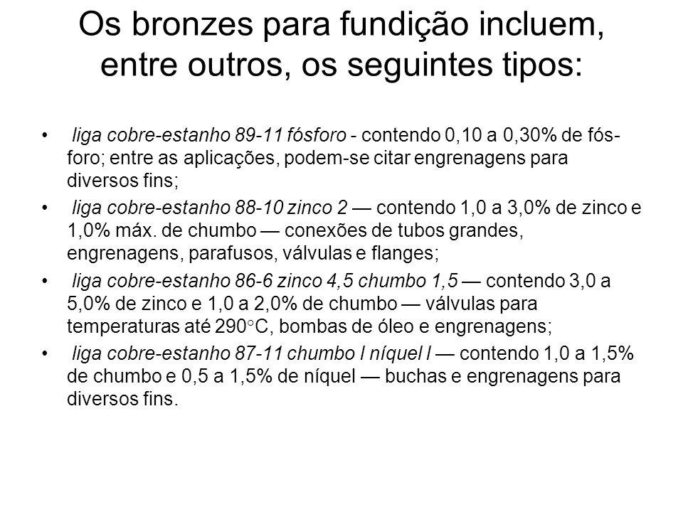 Os bronzes para fundição incluem, entre outros, os seguintes tipos: liga cobre-estanho 89-11 fósforo - contendo 0,10 a 0,30% de fós foro; entre as ap