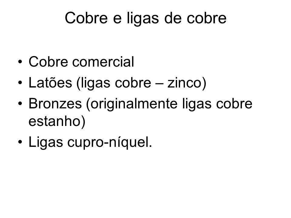 Cobre e ligas de cobre Cobre comercial Latões (ligas cobre – zinco) Bronzes (originalmente ligas cobre estanho) Ligas cupro-níquel.