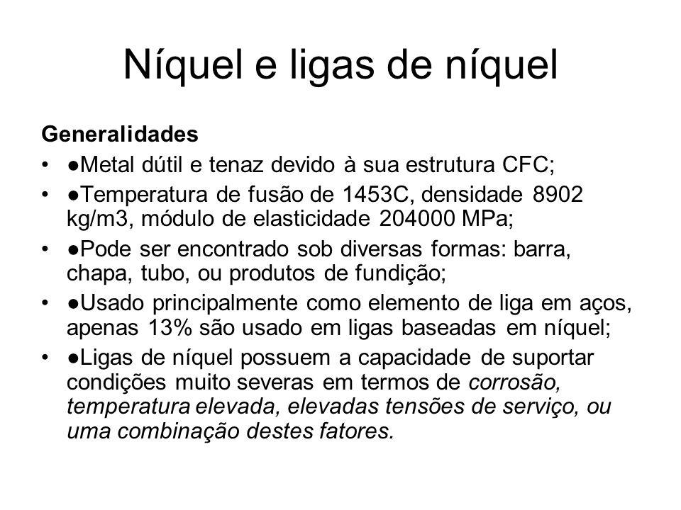 Níquel e ligas de níquel Generalidades Metal dútil e tenaz devido à sua estrutura CFC; Temperatura de fusão de 1453C, densidade 8902 kg/m3, módulo de