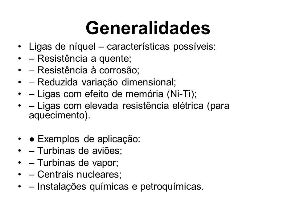 Generalidades Ligas de níquel – características possíveis: – Resistência a quente; – Resistência à corrosão; – Reduzida variação dimensional; – Ligas
