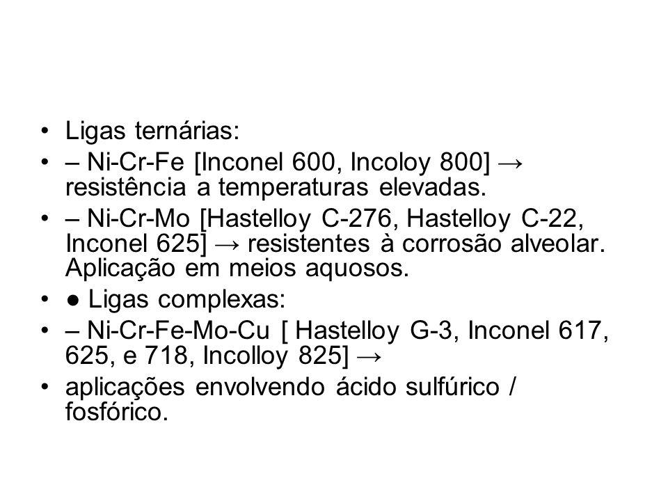 Ligas ternárias: – Ni-Cr-Fe [Inconel 600, Incoloy 800] resistência a temperaturas elevadas. – Ni-Cr-Mo [Hastelloy C-276, Hastelloy C-22, Inconel 625]